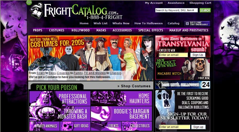frightcatalogcom home page circa oct 9 2005 - Halloween Catalog